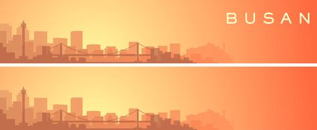Busan Beautiful Skyline Scenery Banner  イラスト・ベクター素材
