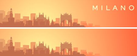 Milan Beautiful Skyline Scenery Banner  イラスト・ベクター素材