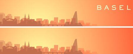 Basel Beautiful Skyline Scenery Banner  イラスト・ベクター素材