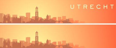 Utrecht Beautiful Skyline Scenery Banner  イラスト・ベクター素材