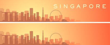 Singapore Beautiful Skyline Scenery Banner  イラスト・ベクター素材