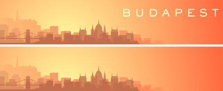 Budapest Beautiful Skyline Scenery Banner 일러스트