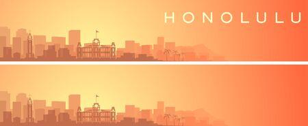 Honolulu Beautiful Skyline Scenery Banner 向量圖像