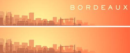 Bannière de paysage de belle ligne d'horizon de Bordeaux