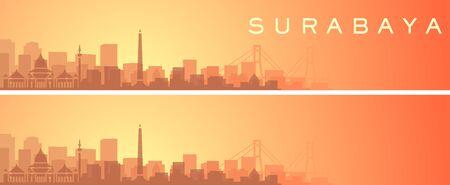 Surabaya Beautiful Skyline Scenery Banner Illustration