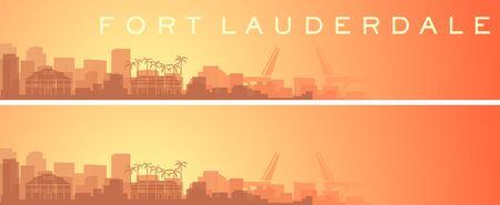 Fort Lauderdale Beautiful Skyline Scenery Banner 向量圖像