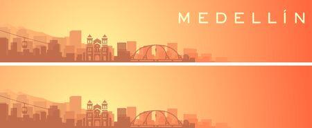 Medellin Beautiful Skyline Scenery Banner 向量圖像