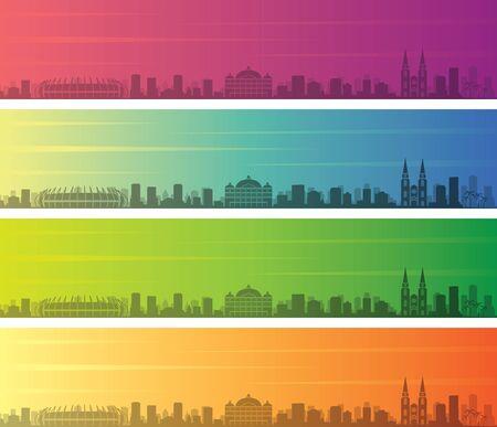 Fortaleza Multiple Color Gradient Skyline Banner