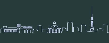 Yerevan Single Line Skyline Profile