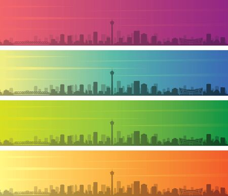 Calgary Multiple Color Gradient Skyline Banner 向量圖像