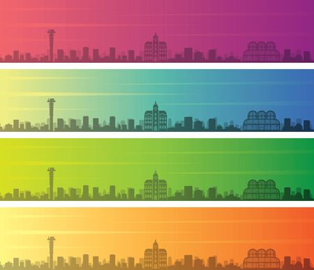 Curitiba Multiple Color Gradient Skyline Banner