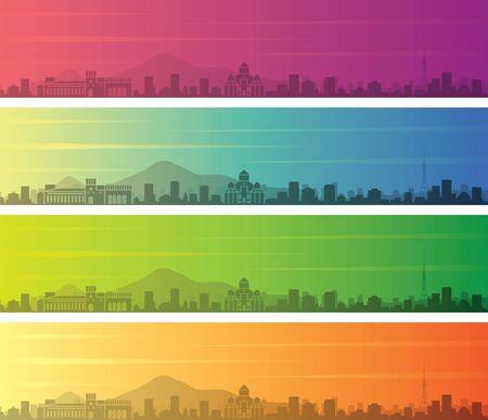 Yerevan Multiple Color Gradient Skyline Banner 向量圖像