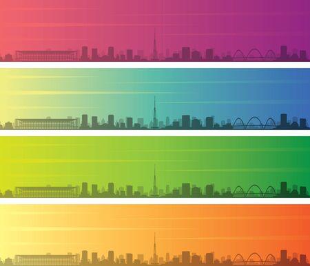 Brasilia Multiple Color Gradient Skyline Banner 向量圖像