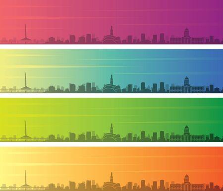 Winnipeg Multiple Color Gradient Skyline Banner 向量圖像