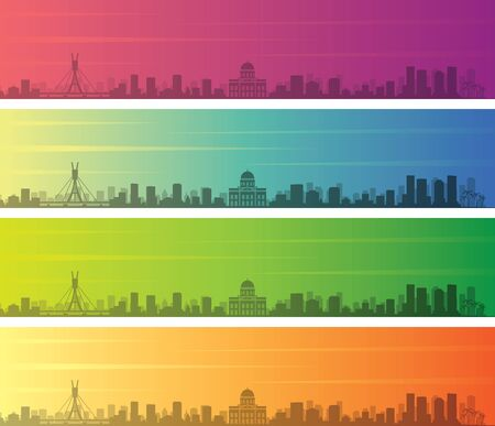 Recife Multiple Color Gradient Skyline Banner