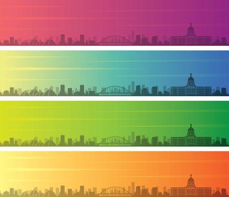 Edmonton Multiple Color Gradient Skyline Banner