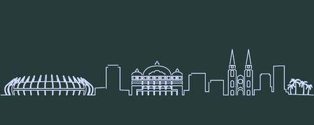 Fortaleza Single Line Skyline Profile 向量圖像