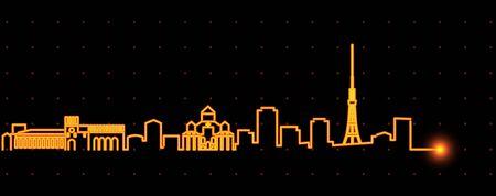 Yerevan Light Streak Skyline Profile