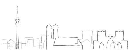 Munich Freehand Minimal Line Skyline and Landmarks Vektoros illusztráció