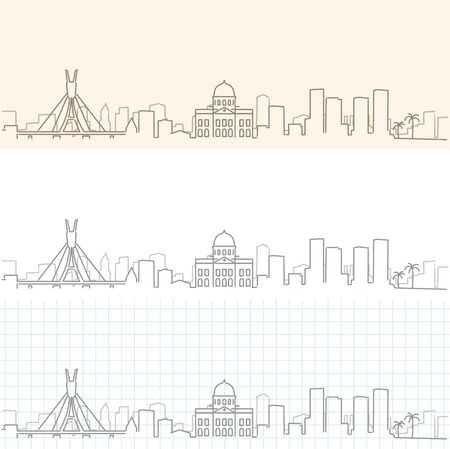 Recife Hand Drawn Profile Skyline Ilustração