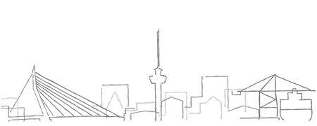 Rotterdam Freehand Minimal Line Skyline and Landmarks Stock Illustratie