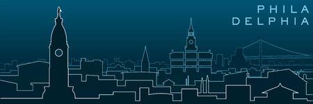 Philadelphia Multiple Lines Skyline and Landmarks