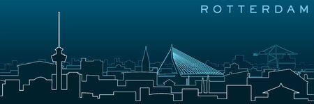 Rotterdam Multiple Lines Skyline and Landmarks
