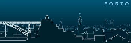 Porto Multiple Lines Skyline and Landmarks
