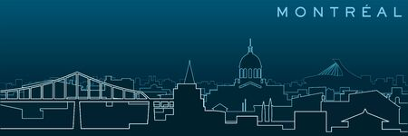 Montreal Multiple Lines Skyline and Landmarks