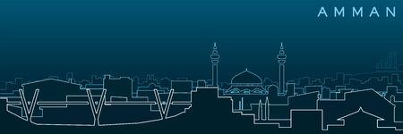 Amman Multiple Lines Skyline and Landmarks Vecteurs
