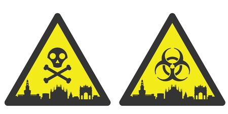 Milan Danger Emergency Biological Hazard Signs and Skyline
