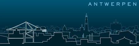 Antwerp Multiple Lines Skyline and Landmarks