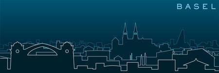 Basel Multiple Lines Skyline and Landmarks