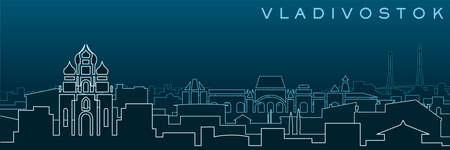 Vladivostok Multiple Lines Skyline and Landmarks  イラスト・ベクター素材