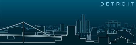 Detroit Multiple Lines Skyline and Landmarks
