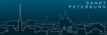 Saint Petersburg Multiple Lines Skyline and Landmarks