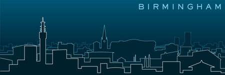 Birmingham Multiple Lines Skyline and Landmarks  イラスト・ベクター素材