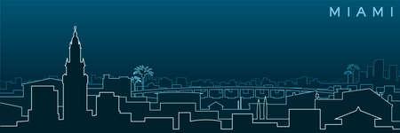 Miami Multiple Lines Skyline and Landmarks