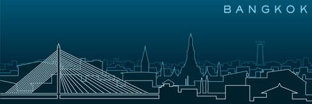 Bangkok Multiple Lines Skyline and Landmarks