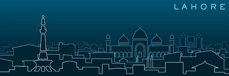 Lahore Multiple Lines Skyline and Landmarks