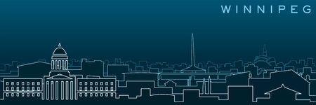 Winnipeg Multiple Lines Skyline and Landmarks