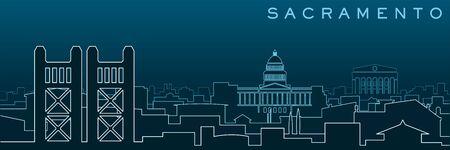 Sacramento Multiple Lines Skyline and Landmarks