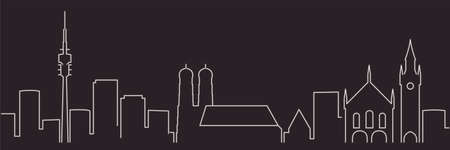 Munich Single Line Simple Minimalist Skyline 向量圖像