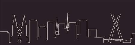 Sao Paulo Single Line Simple Minimalist Skyline  イラスト・ベクター素材