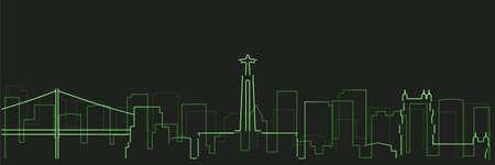 Lisbon Futurist Technology Light Trace Skyline  イラスト・ベクター素材
