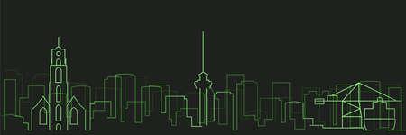 Rotterdam Futurist Technology Light Trace Skyline
