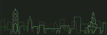 Doha Futurist Technology Light Trace Skyline