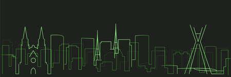 Sao Paulo Futurist Technology Light Trace Skyline  イラスト・ベクター素材