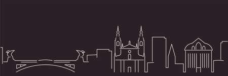 Ljubljana Single Line Simple Minimalist Skyline Illusztráció