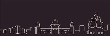 Kolkata Single Line Simple Minimalist Skyline Illusztráció